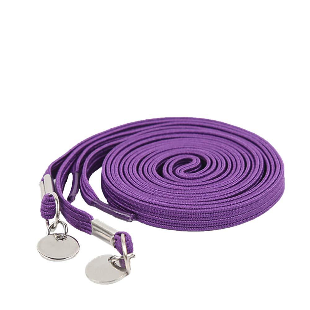 Jinjin Pair of Perfect No Tie Laziness Shoelace Laces Elastic Convenient for Kids and Adults, Sport Fans (Purple)