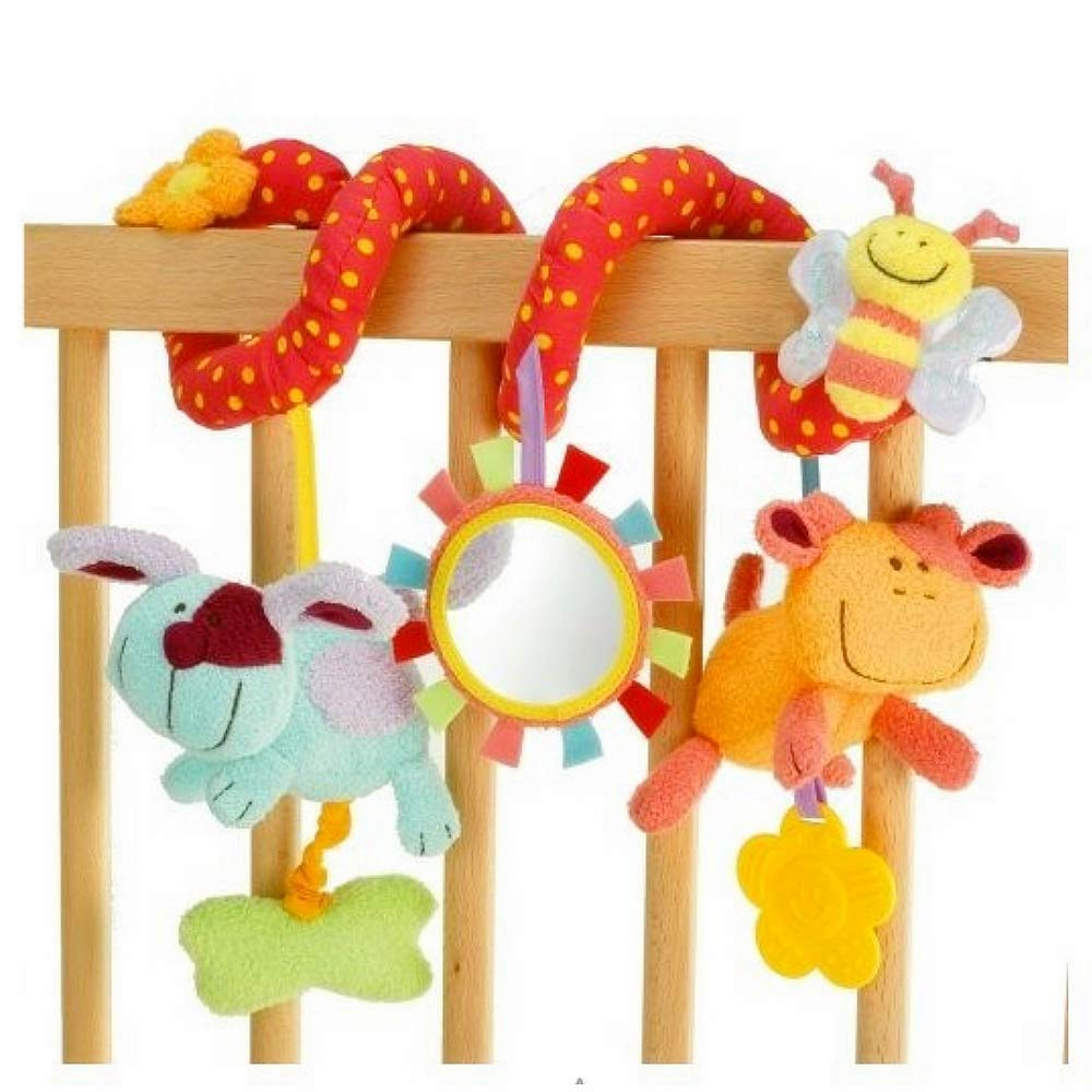 Infant Plush Toy - Baby Activity Spiral Stuffed Animal Rattle - Hanging Mirror Toys for Strollers, Car Seat and Crib