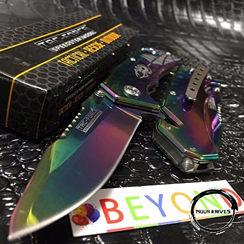 MOON KNIVES Tac Force Spring Assisted Collectors Rainbow Spider Design Pocket Knife ()