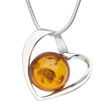 InCollections Silver Amber Necklace With Pendant sAtGo