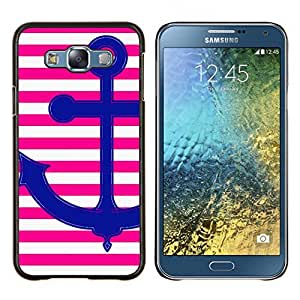 KLONGSHOP // Cubierta de piel con cierre a presión Shell trasero duro de goma Protección Caso - Rosa ancla Amor Rayas líneas blancas - Samsung Galaxy E7 E700 //