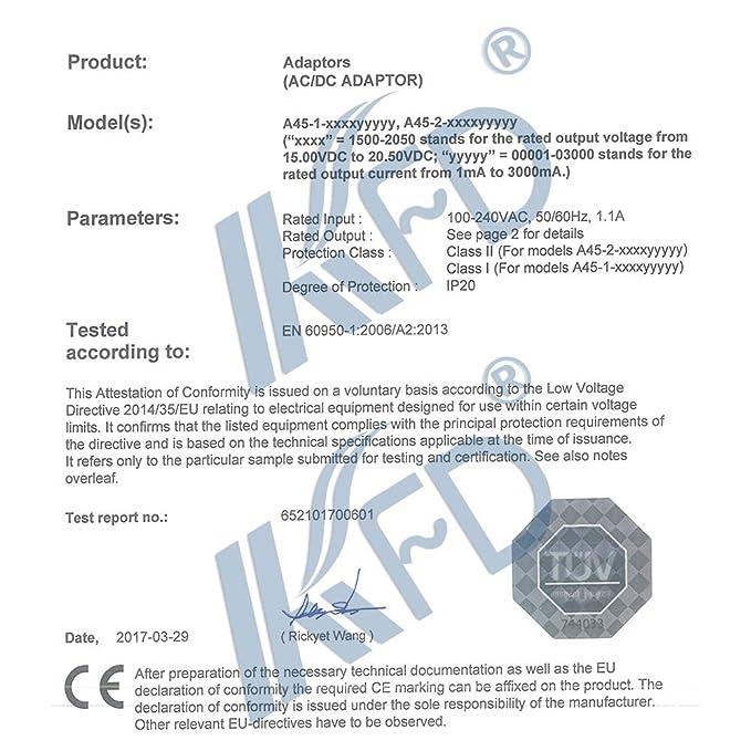 KFD 16/V Cargador AC Power Adaptor Fuente para Yamaha PA de 300/Pa de 300/C pa300/C PSR de 1500/PA de 301/PA de tm-300b PSR de S900/PSR 2100/P de 120/P120/PSR de S550/s550b S700/S710/S910/&nbs
