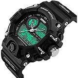 bounabay s-shockメンズスポーツミリタリー腕時計アナログとデジタルLEDバックライト