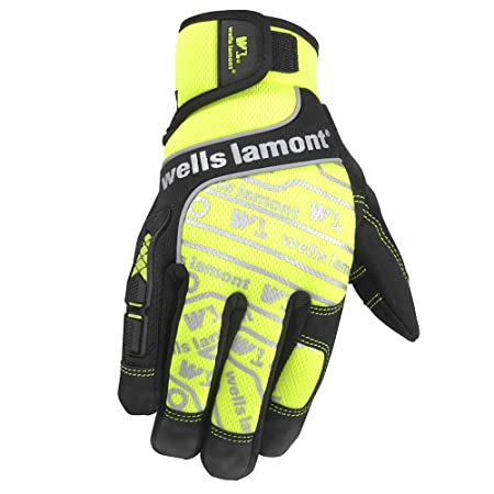 Wells Lamont High Visibility Synthetic Leather Work Gloves, Medium (7674M) - Work Gloves - Amazon.com