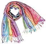 Bijoux De Ja Women's Elephant Rainbow Soft Fringe Fashion Pashmina Pride Shawl Scarf Wrap (Rainbow 8)