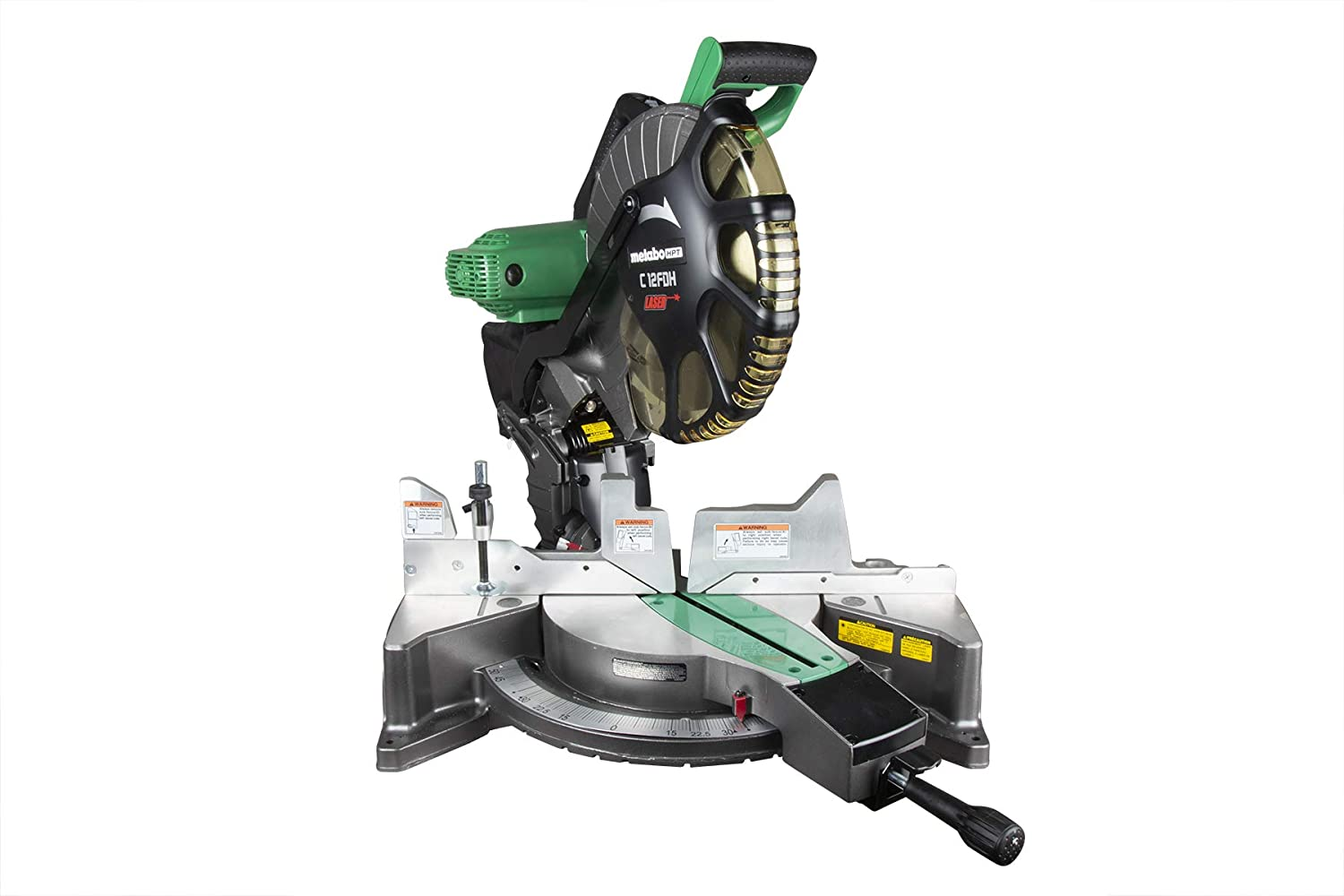 """Metabo HPT C12FDHS 12"""" Double Bevel Compound Miter Saw, Laser Marker System, 15-Amp Motor, Tall Pivoting Aluminum Fence, Micro-Bevel Adjustment Knob, 5 Year Warranty"""