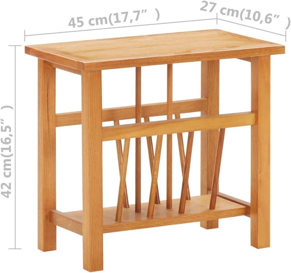 Magazine Rack 45x27x42 Cm Solid Oak Wood and Mdf Irfora Magazine Table