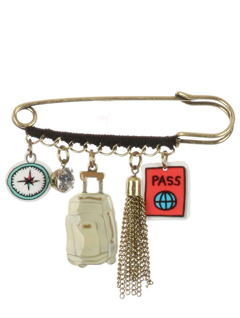 Multi charm travel pin and brooch Fashion Jewelry FancyCharm