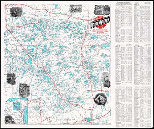Historic Map   ca. 1922 The great north woods tourist and fishing district of Wisconsin : ideal location for summer homes   Antique Vintage Reproduction