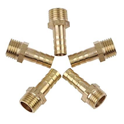 X AUTOHAUX 8mm Brass Hose Barb Fitting Connector for Joiner Air Water Fuel Pipe