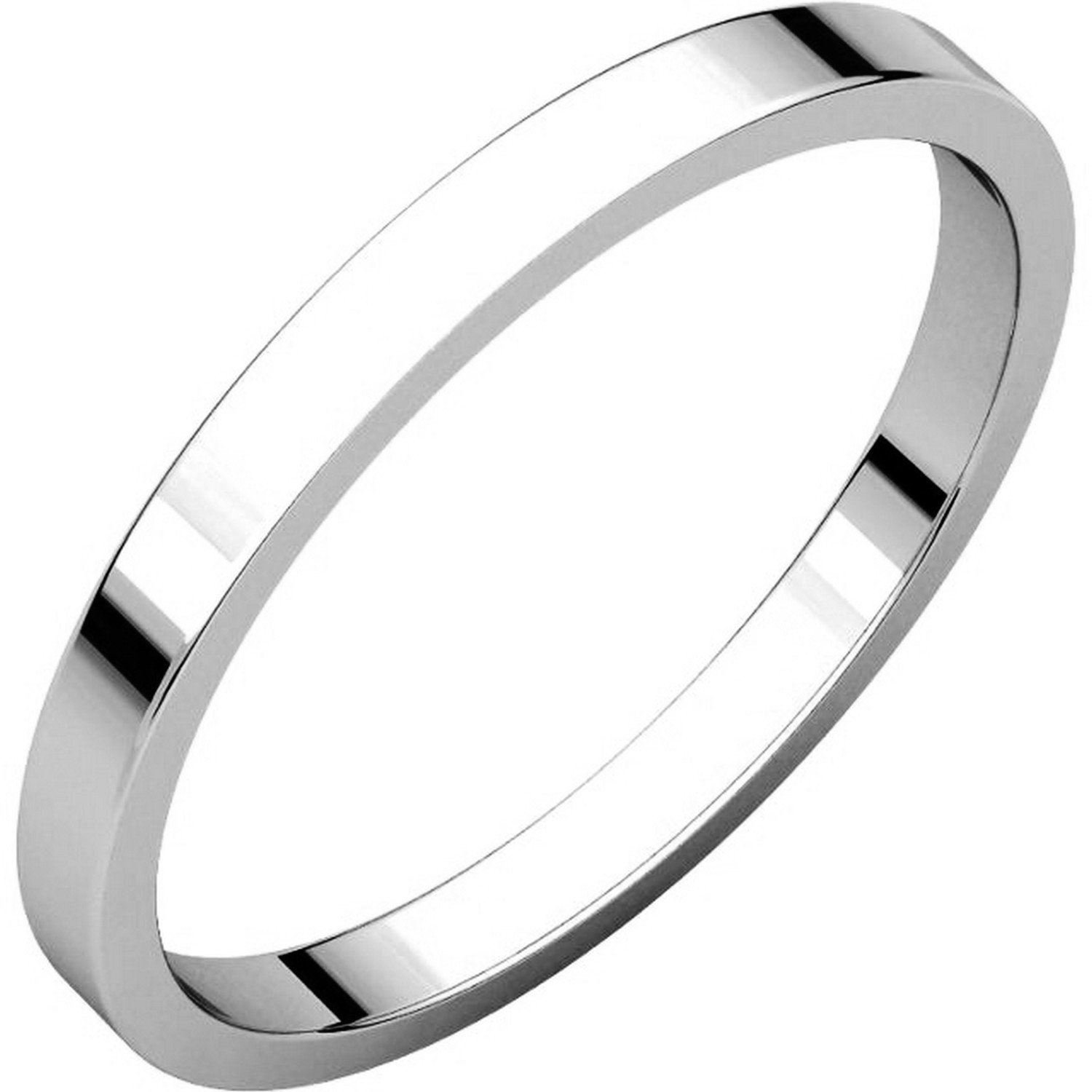 Men's and Women's 14k White Gold, 2mm Wide, Flat, Plain Wedding Band - Size 12.5