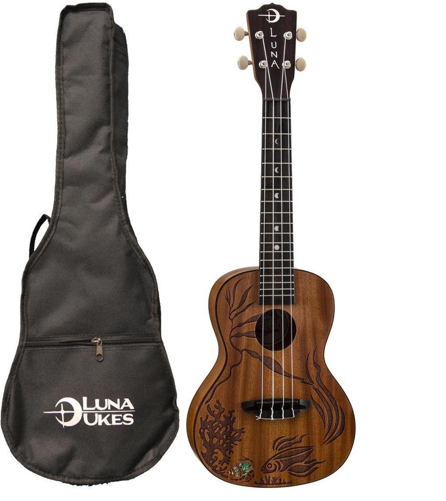 Luna UKECORAL Coral Ukulele All Solid Mahogany with Gig Bag, Satin by Luna Guitars