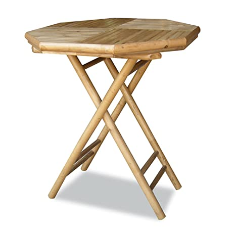 Heather Ann Creations Bamboo Octagon Folding Bistro Table With Slatted Wood  Top, 30 Inch