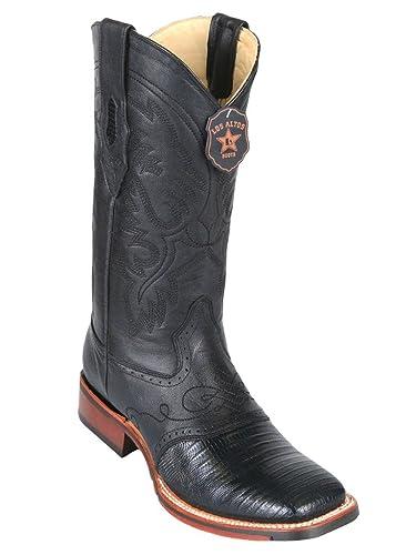 Women's Snip Toe Black Genuine Leather Saddle Teju Skin Western Boots