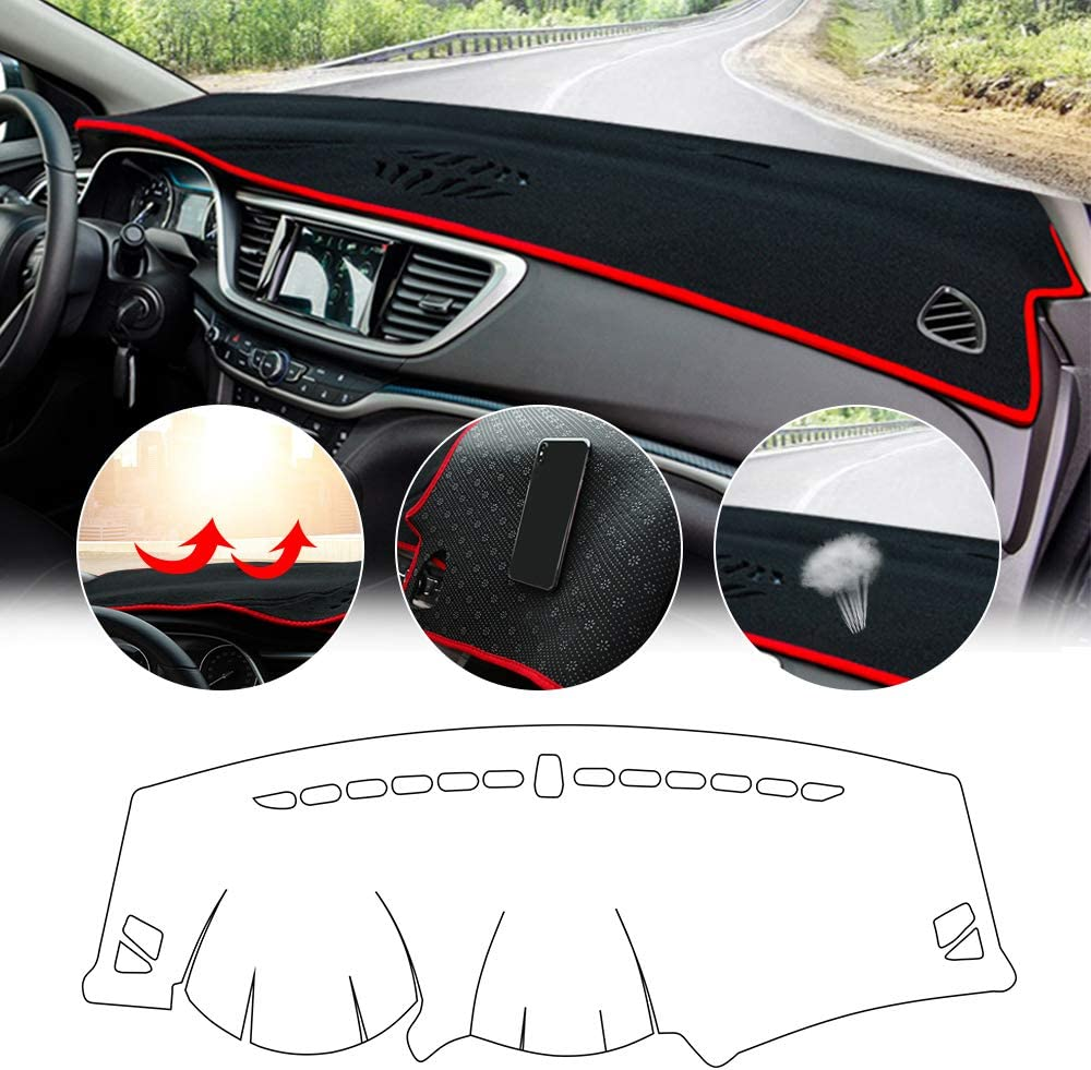 Auto car Custom Dashboard Cover Sunshield Protector fit for Hyundai Tucson 2010-2015 Trim: GL, GLS, Limited, SE, Walking Dead Edition,Deluxe, Black red Edge