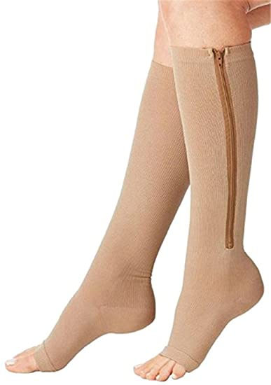 0a77a534e0 Image Unavailable. Image not available for. Color: Compression Socks Zip  Sox Compression Socks Zipper Leg Support Knee Stockings Open Toe ...