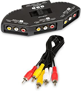 Fosmon A1602 RCA Splitter with 3-Way Audio Video RCA Switch Box + RCA  sc 1 st  Amazon.com & Amazon.com: niceeshop 3 in 1 Composite RCA AV Audio Video Selector ... Aboutintivar.Com