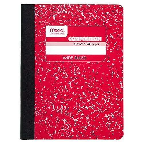Mead Composition Notebook, Wide Ruled, 100 Sheets (200 Pages), 9-3/4