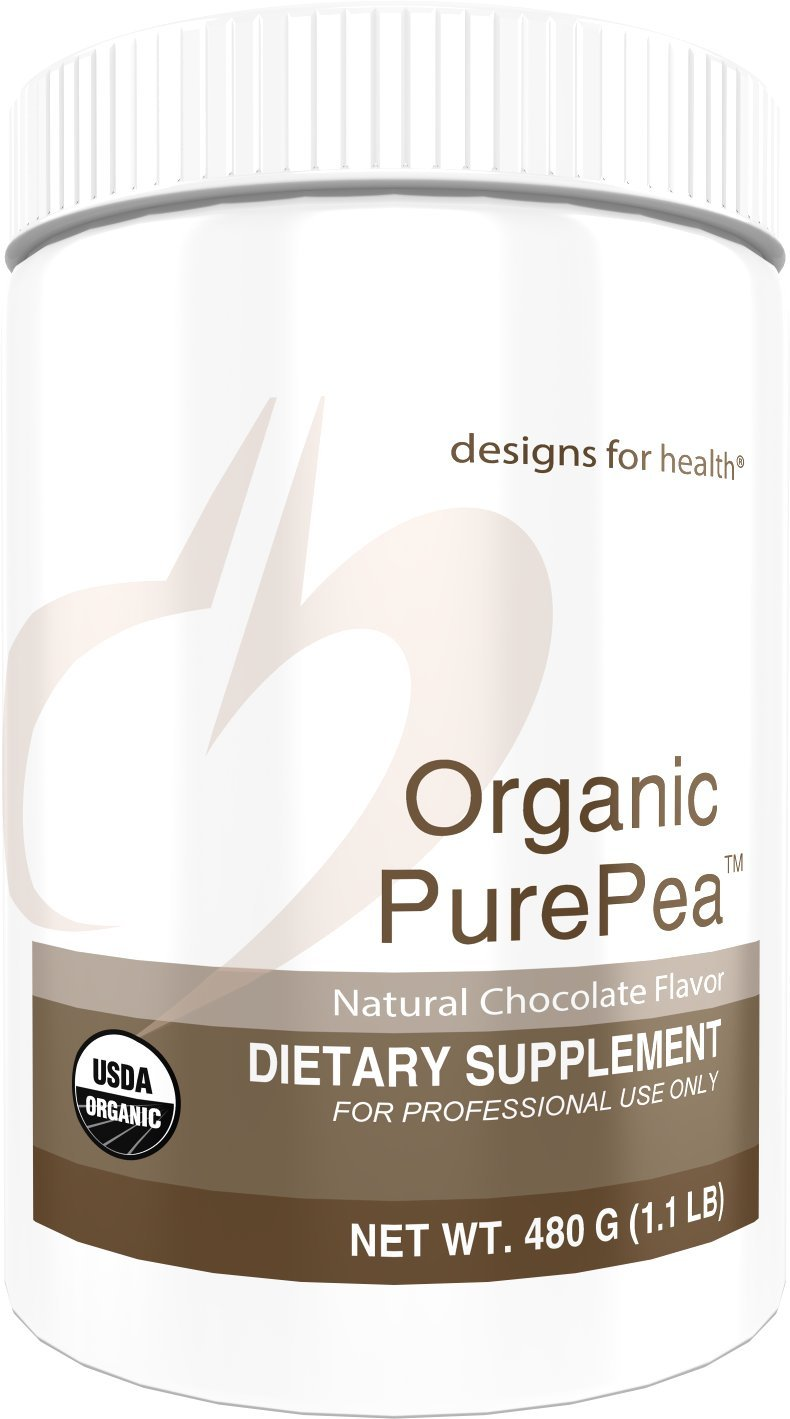 Designs for Health Organic PurePea - Chocolate Pea Protein Powder with 20g Vegan Protein, Organic + Non-GMO (15 Servings / 480g) by designs for health