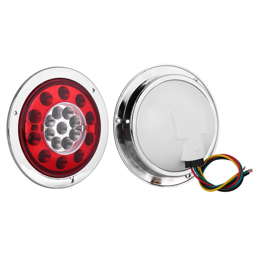 Qiilu 1Pair of 4.3 Inch Round 19 LED Truck Trailer Brake Stop Turn Tail Light Chrome Ring Dual Color