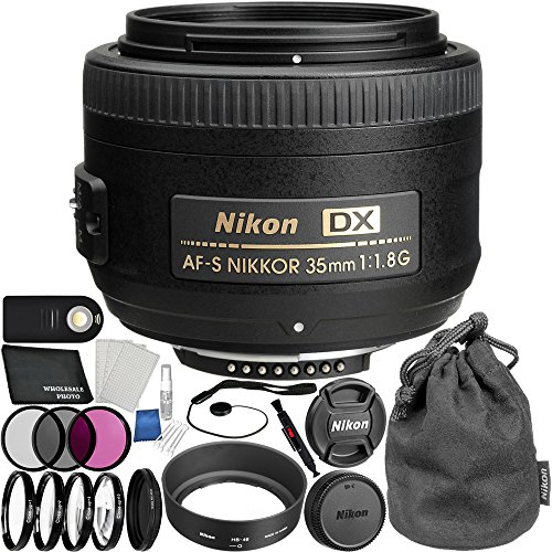 Nikon AF-S DX NIKKOR 35mm f/1.8G Lens Bundle for D7200, D7100, D5500, D5300, D5300, D5100, D5000, D3400, D3300, D3200, D3100, D3000 with Manufacturer Accessories and Accessory Kit (26 Items)