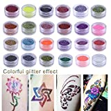 24 Colors Temporary Glitter Powder Body Tattoo Art Paint Set Fancy Women Body Art Design DIY Henna Stencil + Brush+ Glue Kit