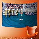 AmaPark Decorative Wall tapestry container container ship in import export and business logistic by crane Decor Bedding 60W x 51L Inch