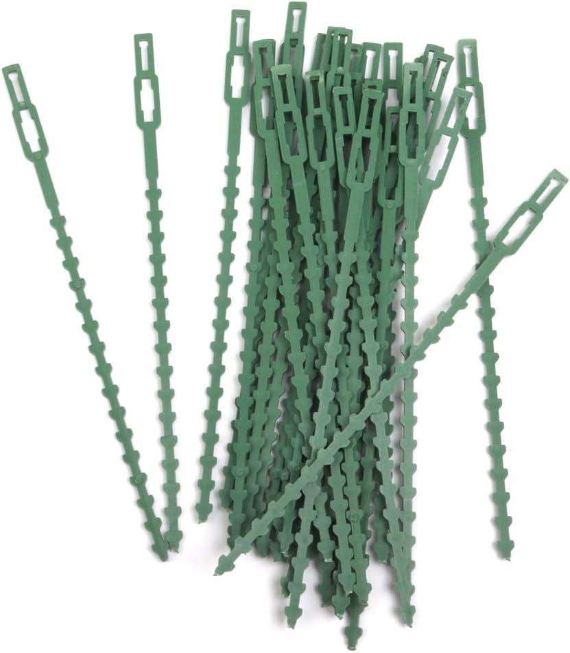 30pcs 16.5cm Plastico Bridas Jardineria Clips Planta Ata Verde