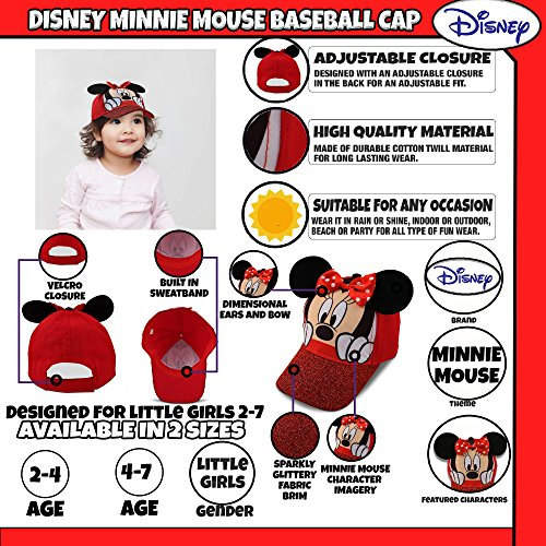 Disney Little Girls Minnie Mouse Character Cotton Baseball Cap, Age 2-7 (Little Girls - Age 4-7 - 53CM, Red) by Disney (Image #1)