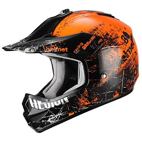 Orange Helmet Motocross (Triangle Motorcycle Helmets Youth Off Road Sport ATV Motocross Dirt Bike [DOT] Orange (Medium))