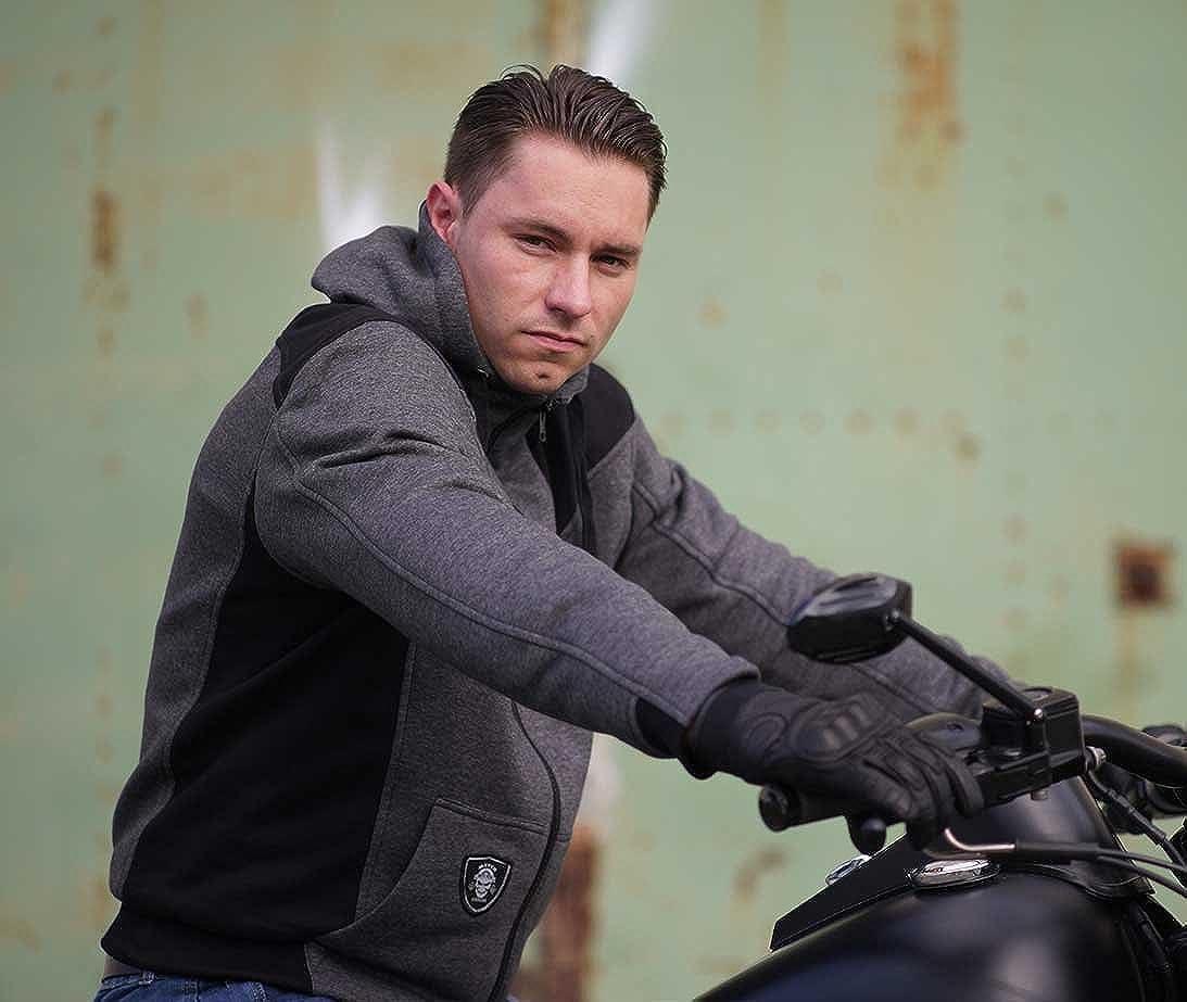 Mycl Turell Motorrad Hoodie Compton Hood Kapuzenpullover Zipper Schwarz-grau