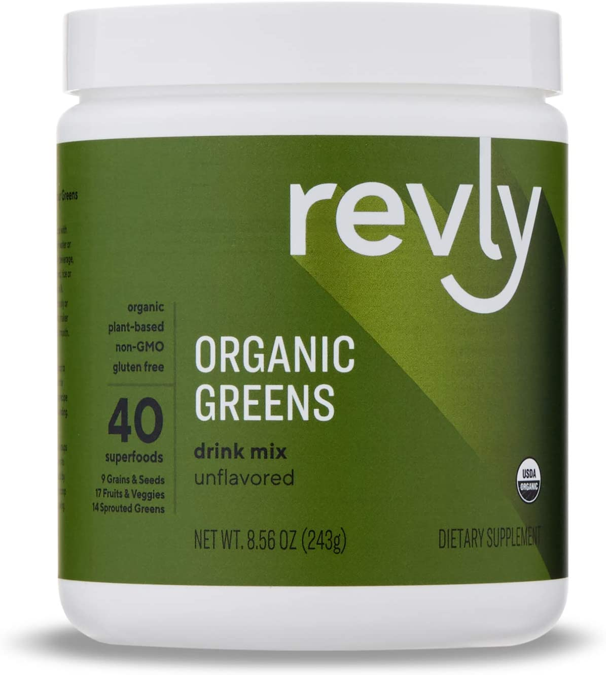 Amazon Brand - Revly Organic Greens Superfood Powder, Greens, Fruits and Seeds Blend, 8.57 Ounce (24 Servings)