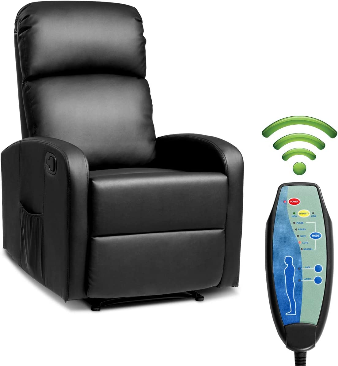 Giantex Massage Recliner Chair w Remote Control, 5 Vibration Modes, Adjustable Footrest Design, PU Leather Padded Seat, Modern Ergonomic Lounge Chaise for Living Room Office Black