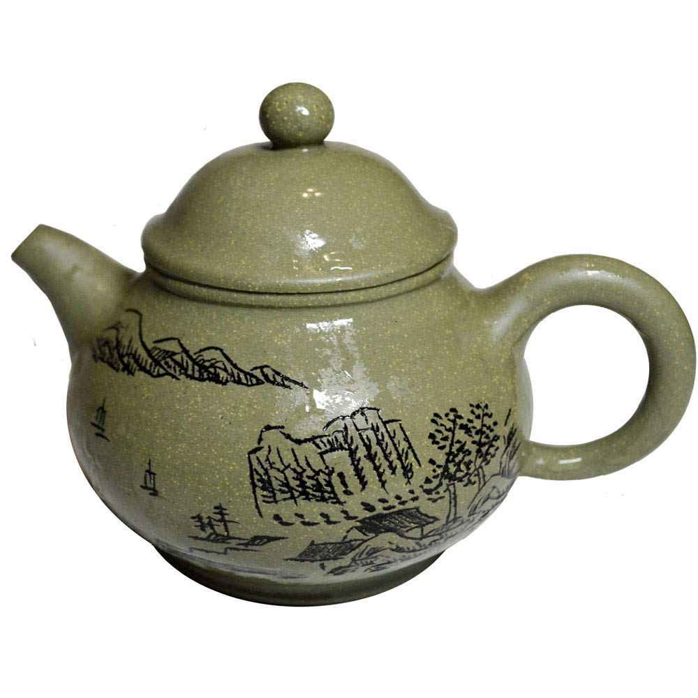 Teapot 6.6oz/200ml Yixing green Zisha tea pots mud landscapes