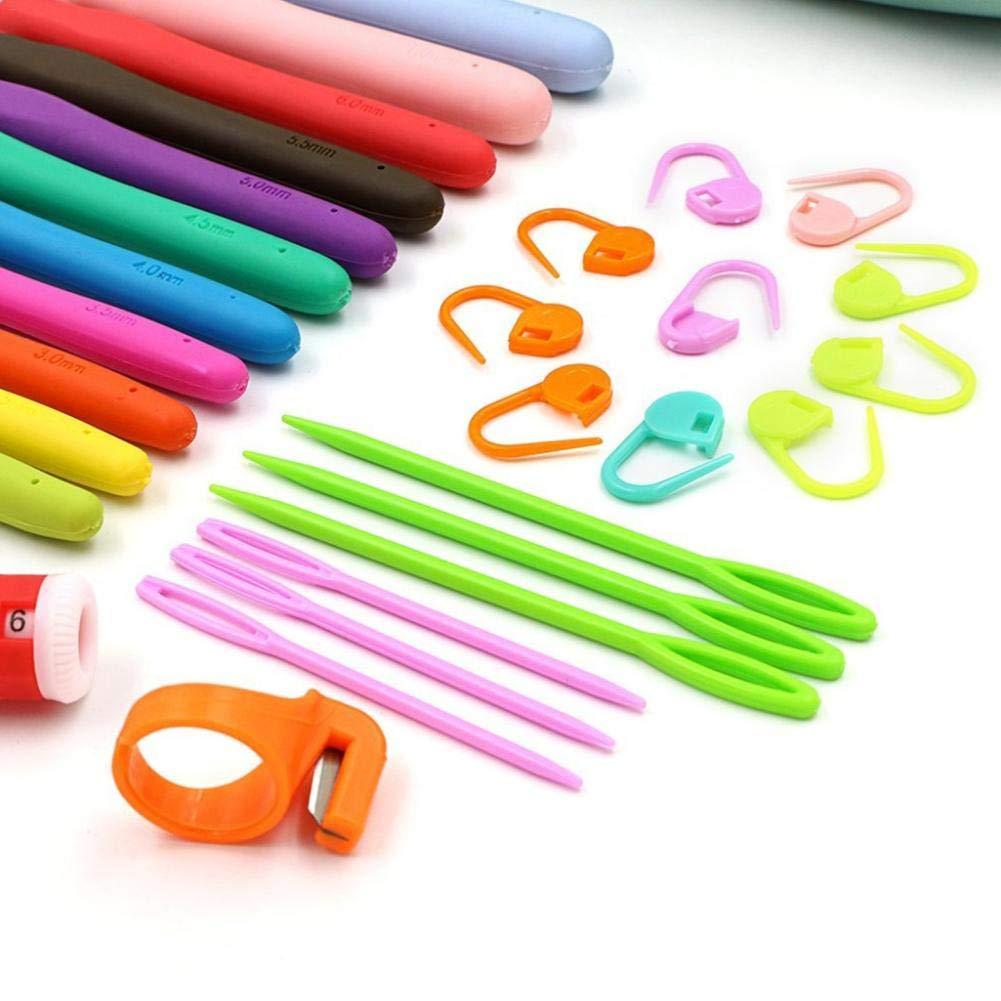 Comaie Ferri da Uncinetto Kit Utensili per Manico Morbido Alluminio ergonomico Tuta Mani Hook Set Gauge fermapunto DIY Craft Tool Needle 67-Piece Fatto a Mano in Cintura di Trocar Bag