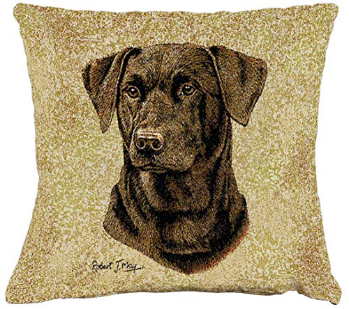 Pure Country Weavers Labrador Retriever Chocolate 2 Hand Finished Woven Pillow Made in The USA. Size 17 x 17 Woven to Last a Lifetime