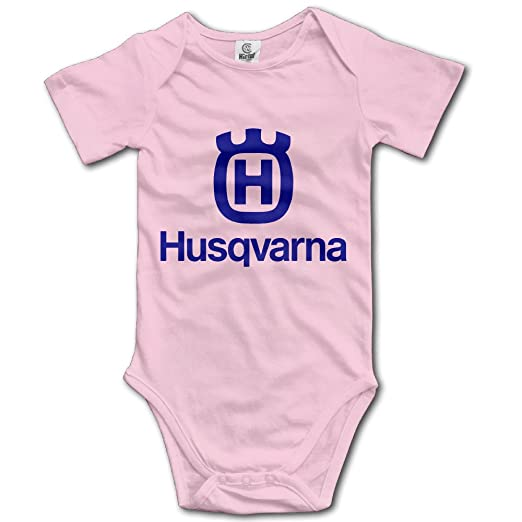 IdWAX Husqvarna Motorcycles Baby Boys Girls Short Sleeve Onesies Bodysuit Pink