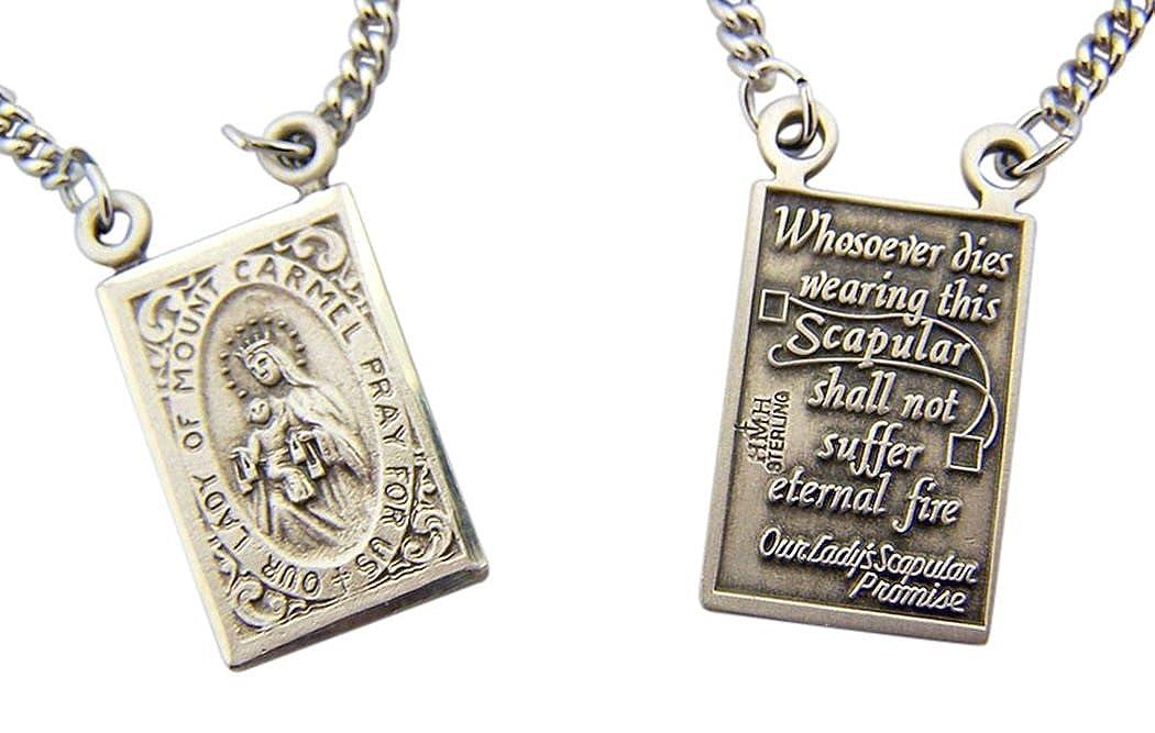 HMHReligiousMfg Sterling Silver Sacred Heart Scapular Medal with La Pieta Back 7//8 Inch