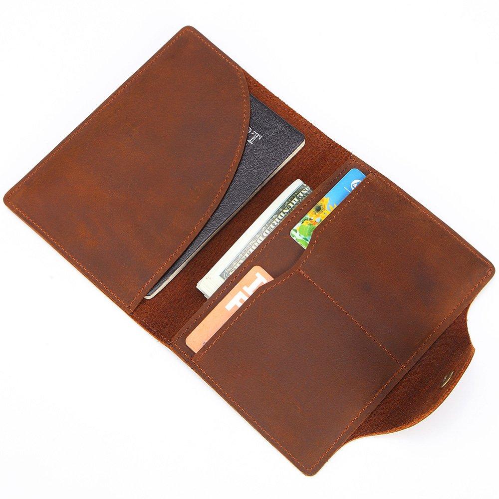 Portefeuille, Portefeuille pour homme en cuir simple rétro unisexe ID sac première couche en cuir portefeuille court (Color : Brown)