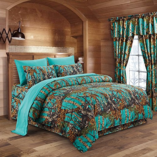 The Woods Teal Camouflage Twin 5pc Premium Luxury Comforter, Sheet, Pillowcases, and Bed Skirt Set by Regal Comfort Camo Bedding Set For Hunters Cabin or Rustic Lodge Teens Boys and Girls