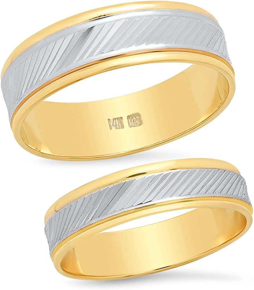Sage Designs L.A. 14K Solid White and Yellow Two Tone Gold His & Hers Matching Wedding Band Ring Set Slant Laser Cut (Choose a Size)