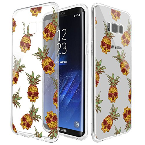 TPU Case For Samsung Galaxy S8 Plus ,Rubber Transparent Clear Back Thin Lightweight Printed Cover Case ,Collage Pineapple Sugar Skulls Sun Glasses ,Customized Design Rubber Silicone Skin Cover - Customized Sunglass