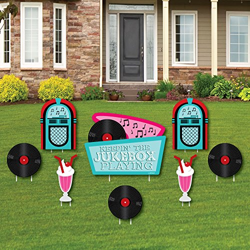 Big Dot of Happiness 50's Sock Hop - Yard Sign & Outdoor Lawn Decorations - 1950s Rock N Roll Yard Signs - Set of 8 by Big Dot of Happiness