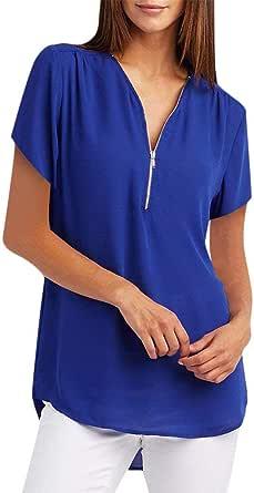 Camiseta de Manga Corta con Cremallera para Mujer,riou Tallas Grandes Camisetas Verano Elegante Color SóLido Cuello en V Basica Suelto Tops Casual ...