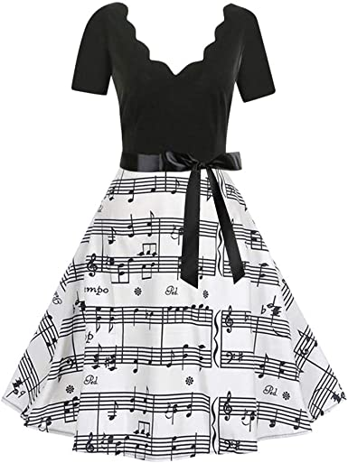 Women Cocktail Dress,Vintage Half Sleeve Music Notes Print Tea ...