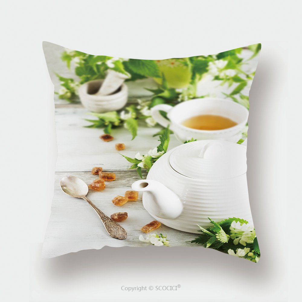 Custom Satin Pillowcase Protector Nettle Tea Kettle Sugar And Fresh Nettle Branches Health And Diet Concept 289645991 Pillow Case Covers Decorative