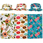 habibee Newborn Swaddle Blanket Headband With Bow Set Baby Receiving Blankets (B Floral 3 Packs)