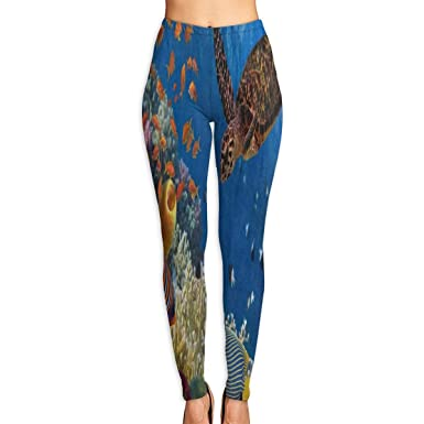 8205804856618 Bei Tang Womens Yoga Pants Colorful Coral Reef Fish Sea Turtle Slim Fit  Leggings Workout Trousers