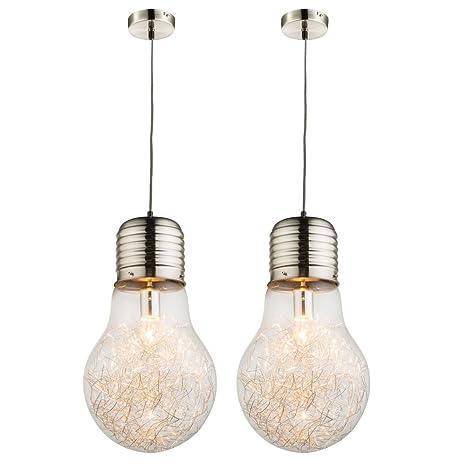Juego de 2 lámparas de techo salón sofás bombillas hilo ...