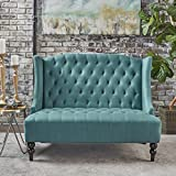 Leona Traditional High Back Tufted Winged Fabric Loveseat (Dark Teal)